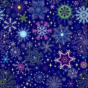 Christmas, Dark, Blue, Seamless, Pattern, With, Colorful, Snowflakes, And, Stars, Vector