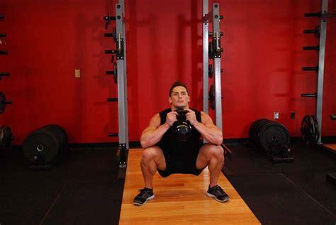 goblet squat bodybuilding exercise exercises kettlebell enlarge glutes guide male quadriceps