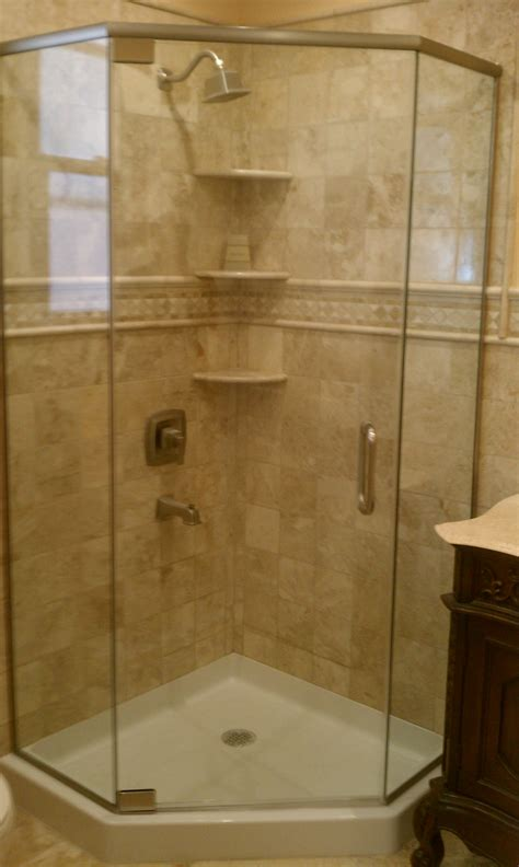 Frameless Neo Angle Shower Doors by 187 Neo Angles New Images Mirror Glass Co