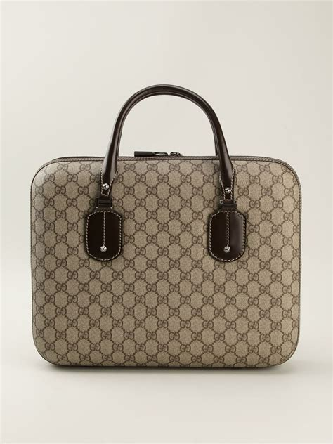 gucci signature monogram laptop bag  natural lyst