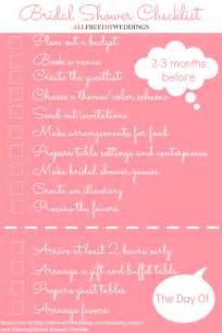 bridesmaid checklist bridal shower checklist allfreediyweddings