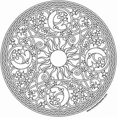 Mandala Coloring Moon Pages Sun Celestial Adult