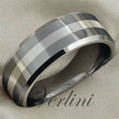 tungsten ring 8mm mens wedding band silver inlay titanium colo jewelry size 6 13 ebay