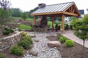 Back Yard Pavilion With Fireplace Plans Covered Trellis