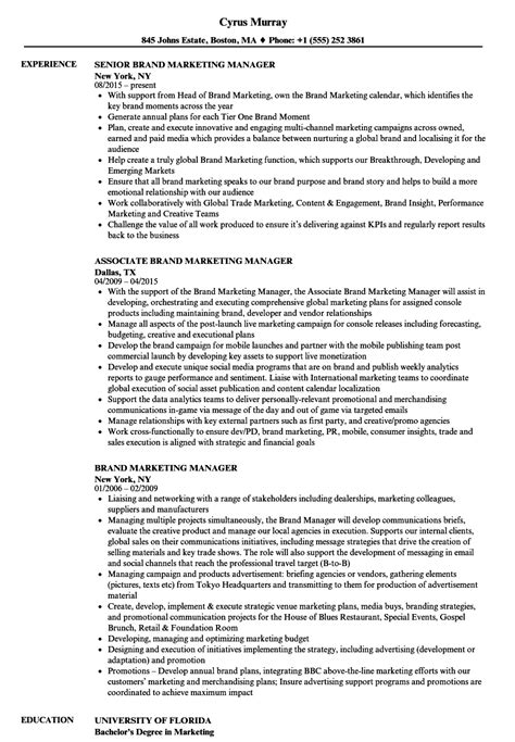 awesome exle of a brand manager resume contemporary