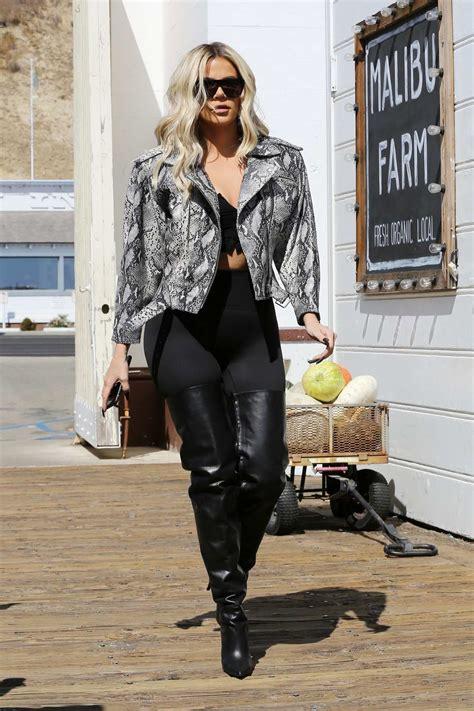 khloe kardashian wears snakeskin jacket  black