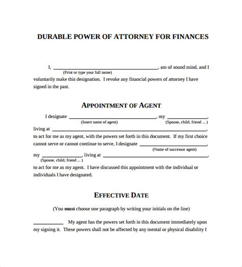 durable power  attorney forms samples examples