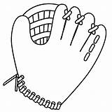 Glove Baseball Cliparts Coloring Bat Pages sketch template