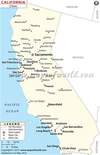 California Map with Major Cities