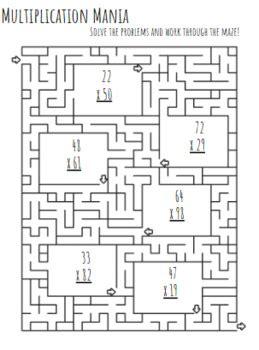 fun multiplication worksheets  dig   dig tpt