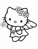 Coloring Angel Kitty Hello Pages Printable Drawing Easy Colouring Princess Characters Cartoon Line Cliparts Sanrio Ballerina Clipart Sheets Fancy Cat sketch template