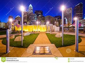 Charlotte North Carolina Park And Skyline Stock Photo ...