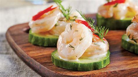 recette canape canapés de concombre aux crevettes recettes iga