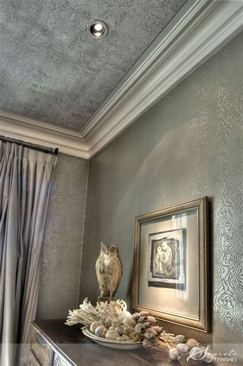 beautiful silver metallic wallpaper  ceiling
