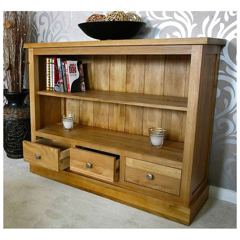 50% Off Small Low Solid Oak Bookcase With Drawers Glenmore