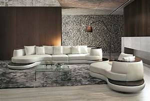 Modern, Unique, Curved, Style, Genuine, Leather, Leisure, Sofa