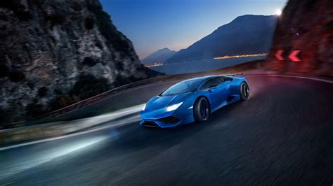 Full Hd Wallpaper Lamborghini Huracan Night Mountain