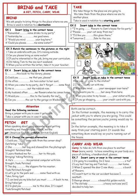 What Are You Bringing To The by Bring Take Esl Worksheet By Lilianarota
