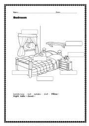 bedroom esl worksheet  dridri