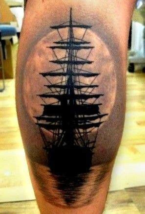 lovely ship  sunset tattoo  leg tattooimagesbiz