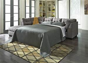 Maier grey fabric sectional sleeper sofa steal a sofa for Cody fabric 5 piece l shaped sectional sofa