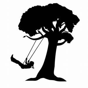 Watercolor+Girl+On+Swing+Silhouette | girl on tree swing ...