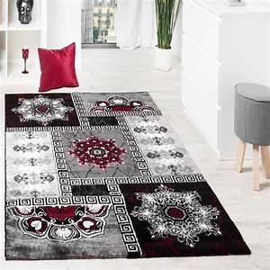 Teppich Rot Grau : designer teppich klassische ornamente kronleuchter optik rot grau anthrazit wohn und ~ Whattoseeinmadrid.com Haus und Dekorationen