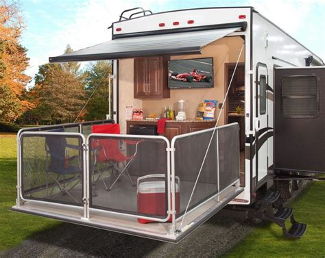 magnificent fifth wheel with outside kitchen and bunk beds