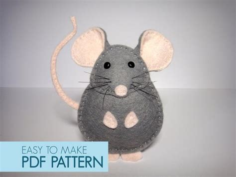easy  sew felt  pattern diy pablo  mouse finger