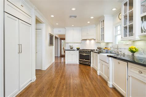 corner stove transitional kitchen  wright design
