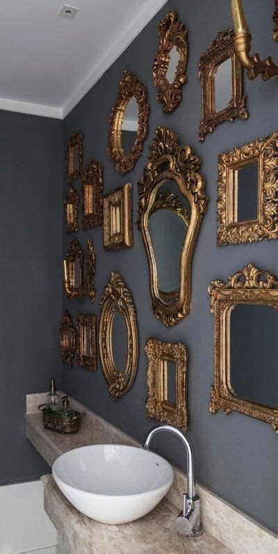 decoracion color gris  dorado en banos como organizar