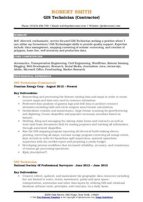 Gis Resume Format by Gis Technician Resume Sles Qwikresume