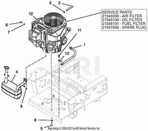 Gravely 991210  050000 -   Pro-turn 52 U0026quot  Parts Diagram For Engine