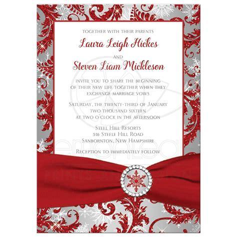 wedding invitation winter wonderland red silver