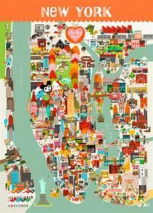 Plan De Manhattan : poster carte de new york pour enfants l 39 affiche moderne ~ Melissatoandfro.com Idées de Décoration