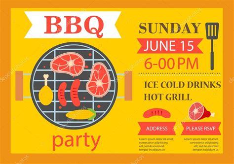 grill party einladung bbq vorlage flyer stockvektor