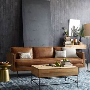 Axel leather sofa 226 cm industrial storage for West elm sectional sofa leather