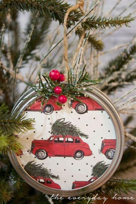 diy mason jar lid christmas ornaments love  homemade
