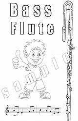 Flute Coloring Pages Digital Bass Sheet sketch template