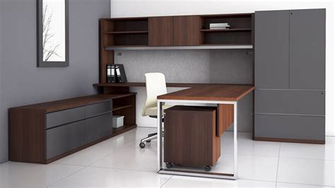 Office Desk With Credenza by Modern At Two U Shaped Desk With Overhead Storage