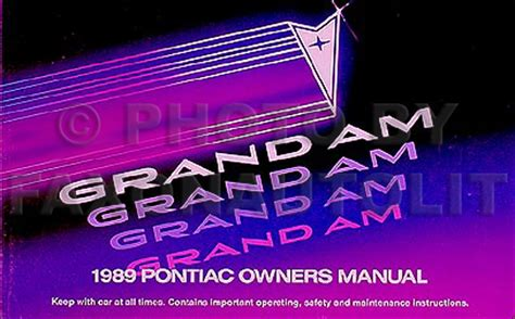 motor auto repair manual 1989 pontiac grand am electronic toll collection 1989 pontiac grand am owners manual 89 le se original owner guide book ebay