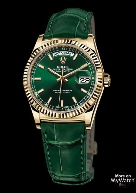 rolex day date oyster perpetual  yellow gold green dial alligator strap