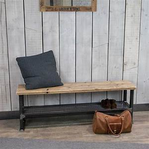 Industrial, Entryway, Bench, With, Reclaimed, Wood, Seat