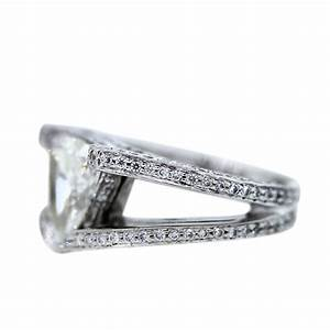 platinum 270 carat trillion cut diamond engagement ring With trillion wedding ring