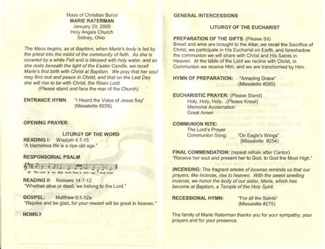 images  catholic funeral mass program template