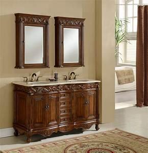 60, U0026quot, Tuscany, Teak, Double, Sink, Bathroom, Vanity