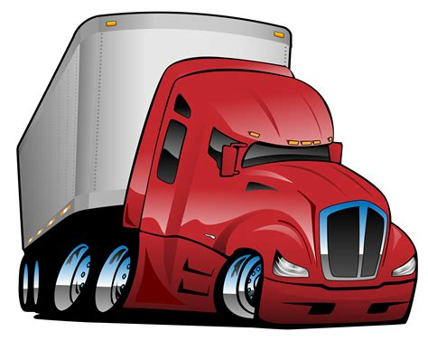 semi truck  trailer cartoon vector illustration