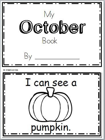 Free October Book For Kindergarten (10 Pages) Madebyteachers