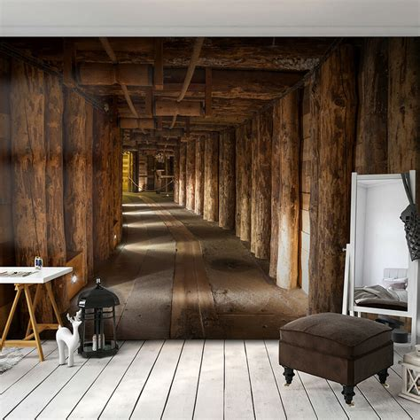 holz in steinoptik vlies fototapete holz tunnel braun 3d effekt tapete schlafzimmer wandbilder ebay