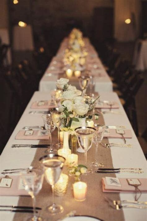 Long Narrow Table Scape With Hessian Table Runner